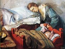 christian_krohg_sleeping_mother_with_child